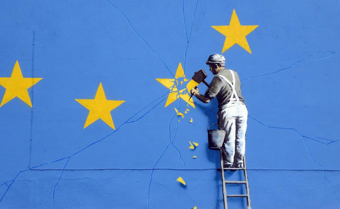 Banksy Brexit man chipping on EU star