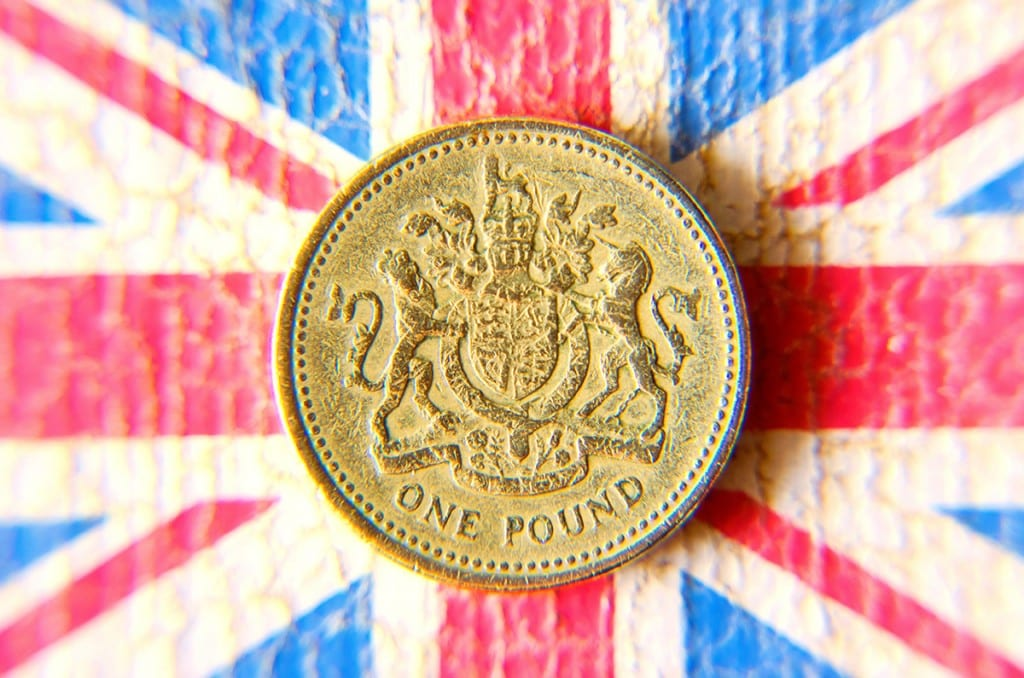 British Pound on United Kingdom flag