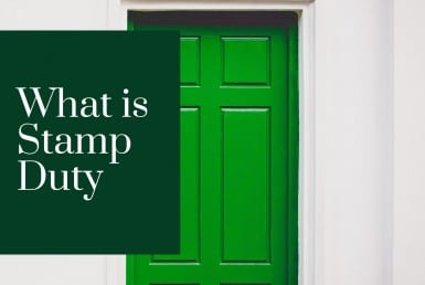 Stamp duty text and Green house door