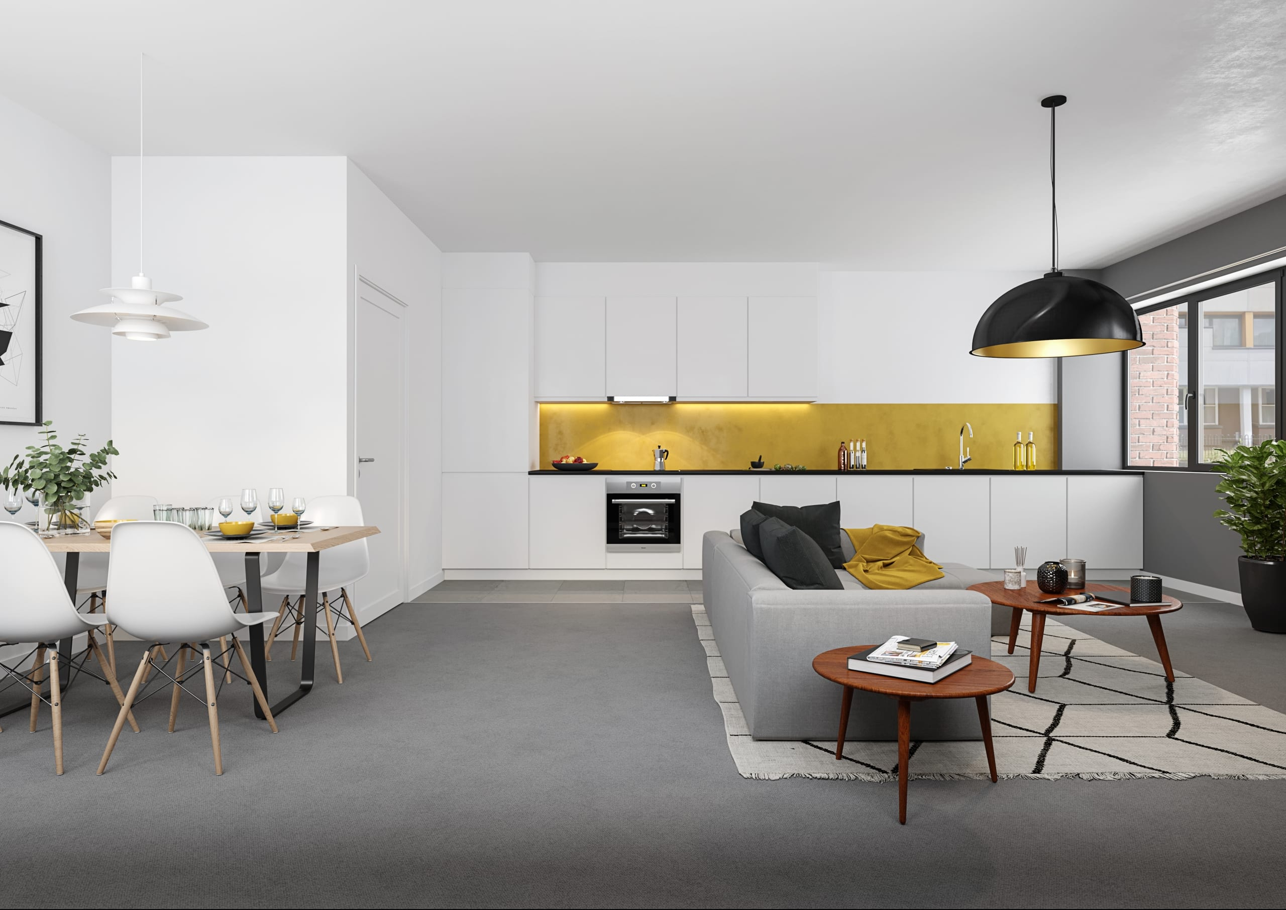 Living Area CGI Redditch Apartments for rents
