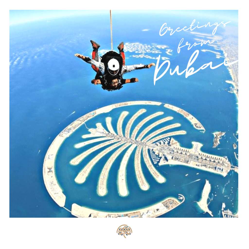 Man skydiving in Dubai