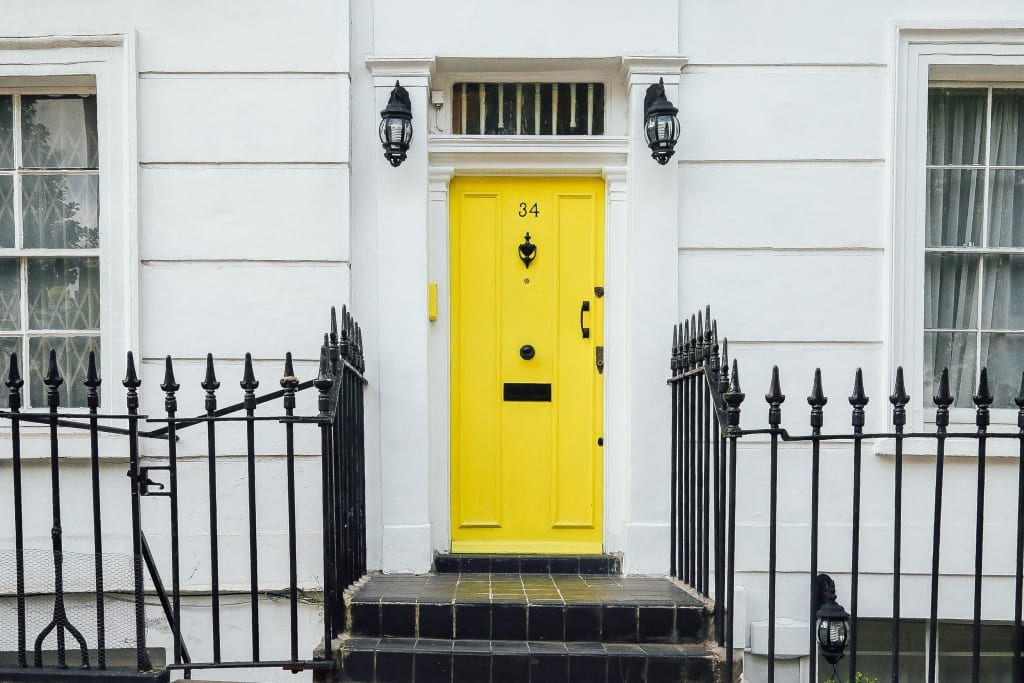 Property in London with Yellow door