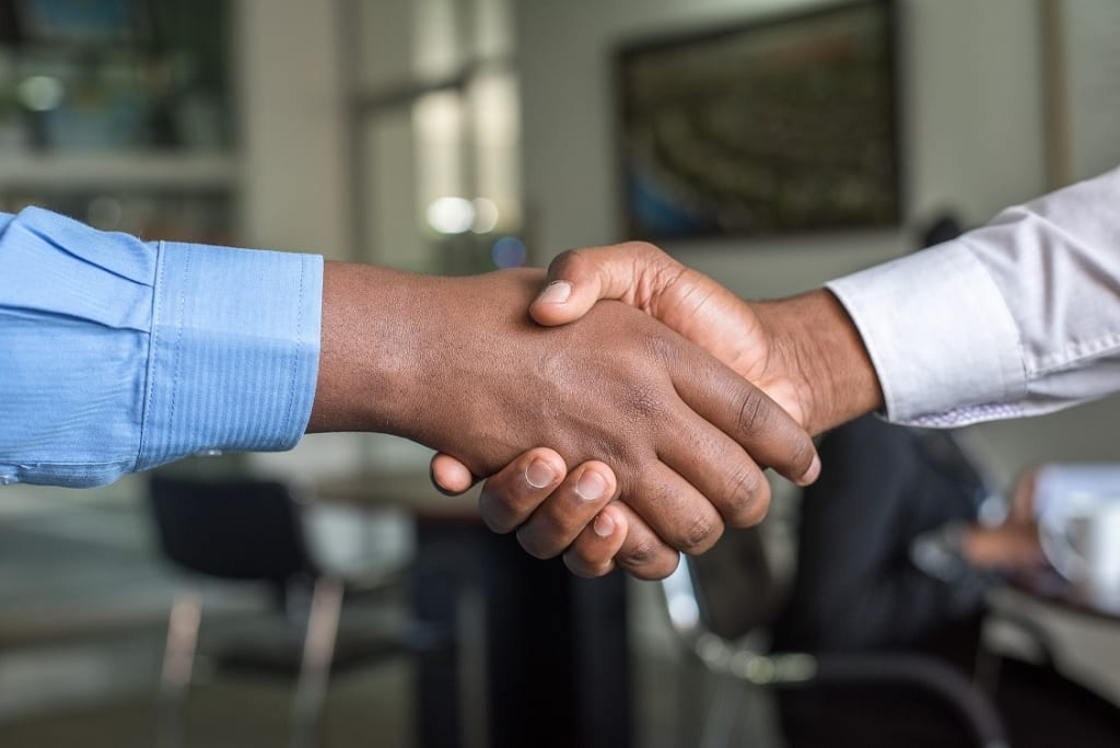 Handshake between investors