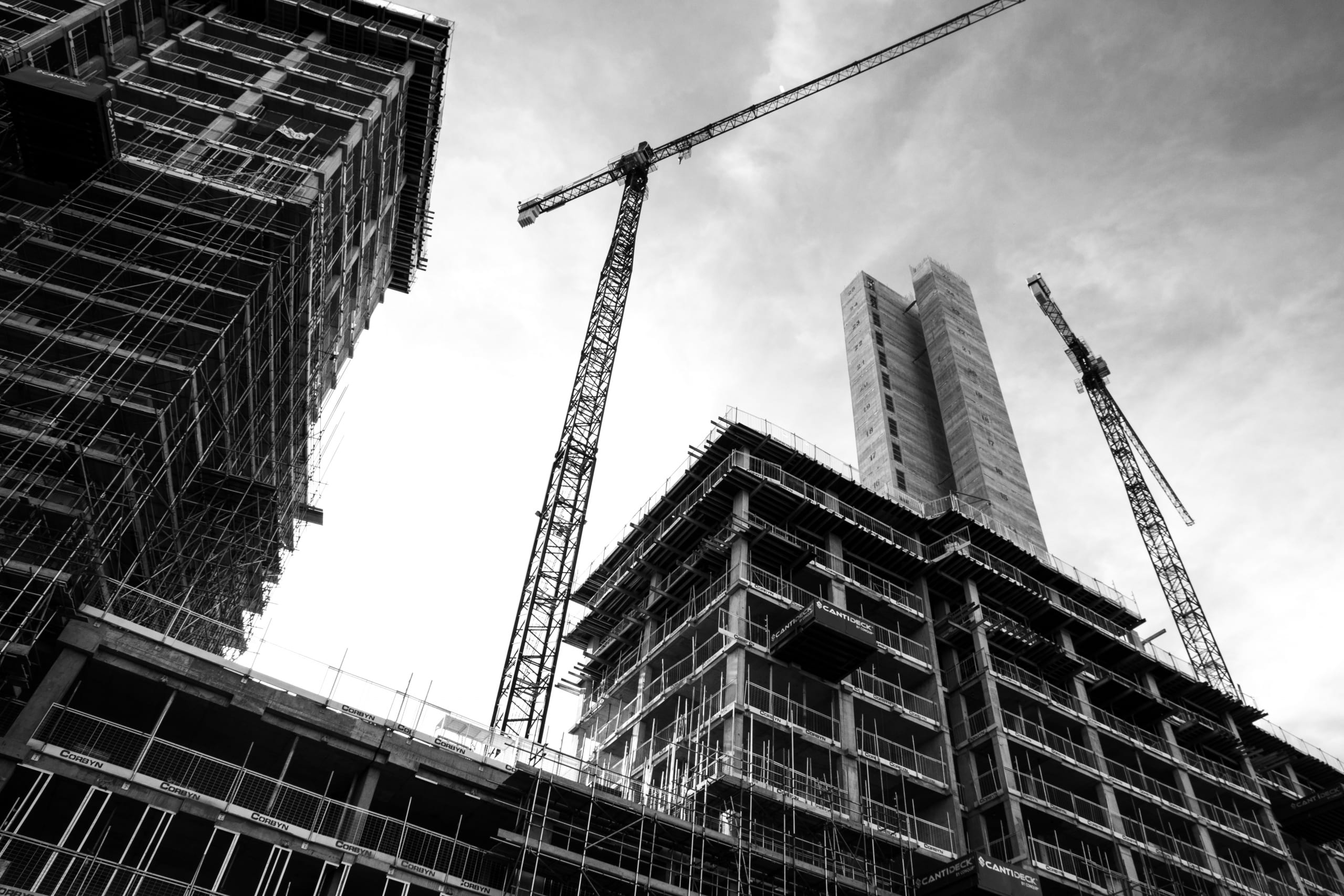 Scaffolding construction site black and white
