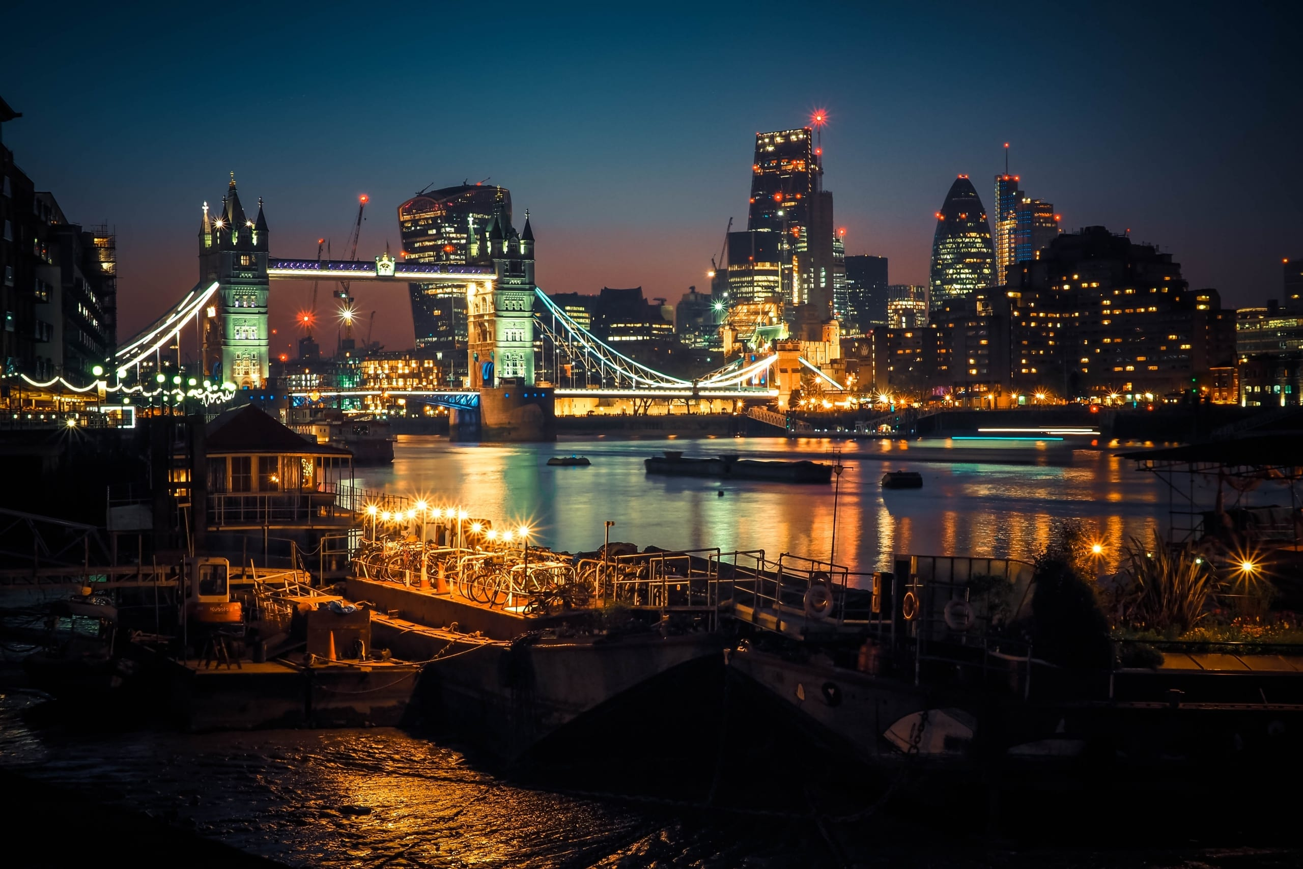 View of the Tower Bridge in London at night
