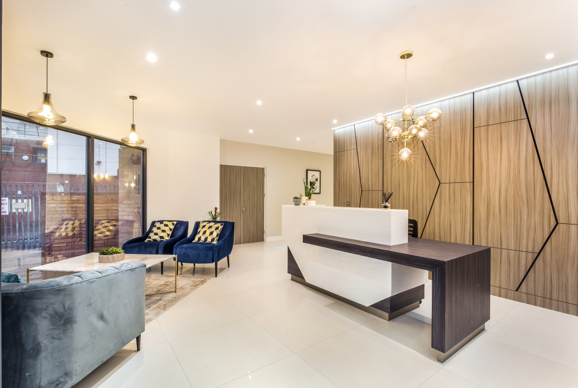 Library house building concierge entrance luxury entrance with book and marble floors